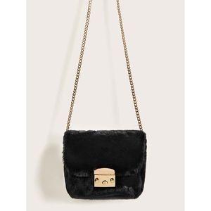 Black Faux Fur Metal Lock Chain Crossbody Bag